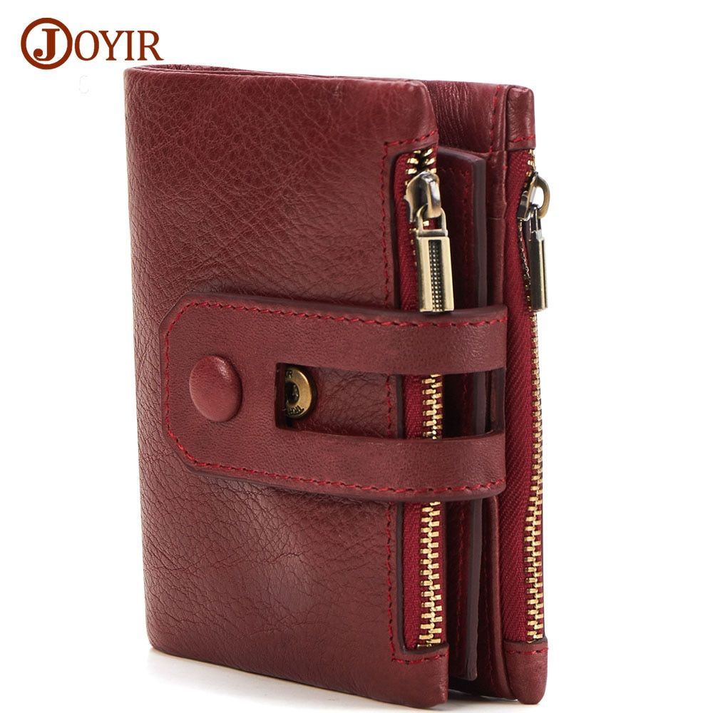 JOYIR Unisex Geldbörse Frauen Männer Leder Echtes Vintage Geldbörse Reißverschluss Männer Brieftaschen Kleine Perse Solide RFID Kartenhalter
