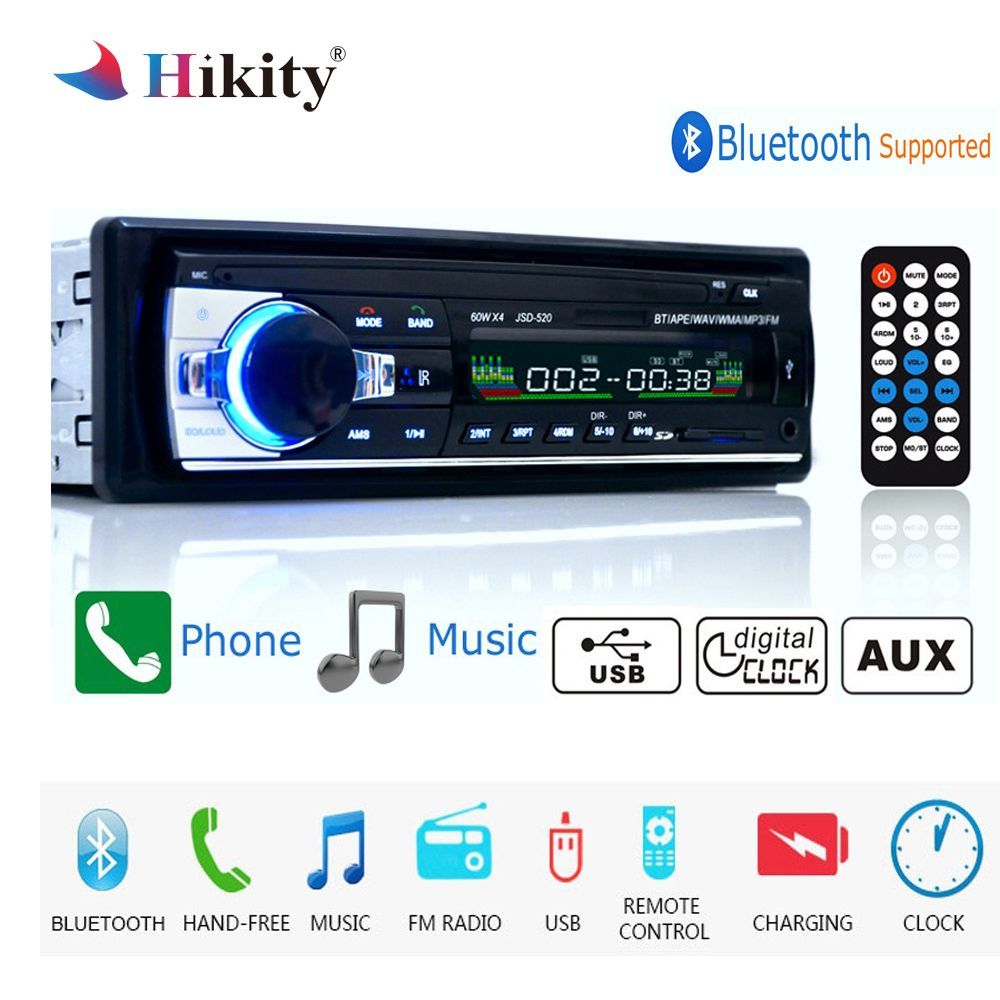 Hikity autoradio 12V JSD-520 Car Radio Bluetooth 1 din Car Stereo Player AUX-IN MP3 FM radio Remote Control for phone Car Audio