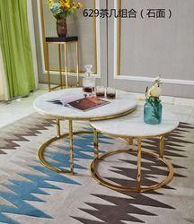 0608CJ629 Marbre surface en acier inoxydable cadre combinaison ronde thé table table basse salon meubles fin table d'appoint