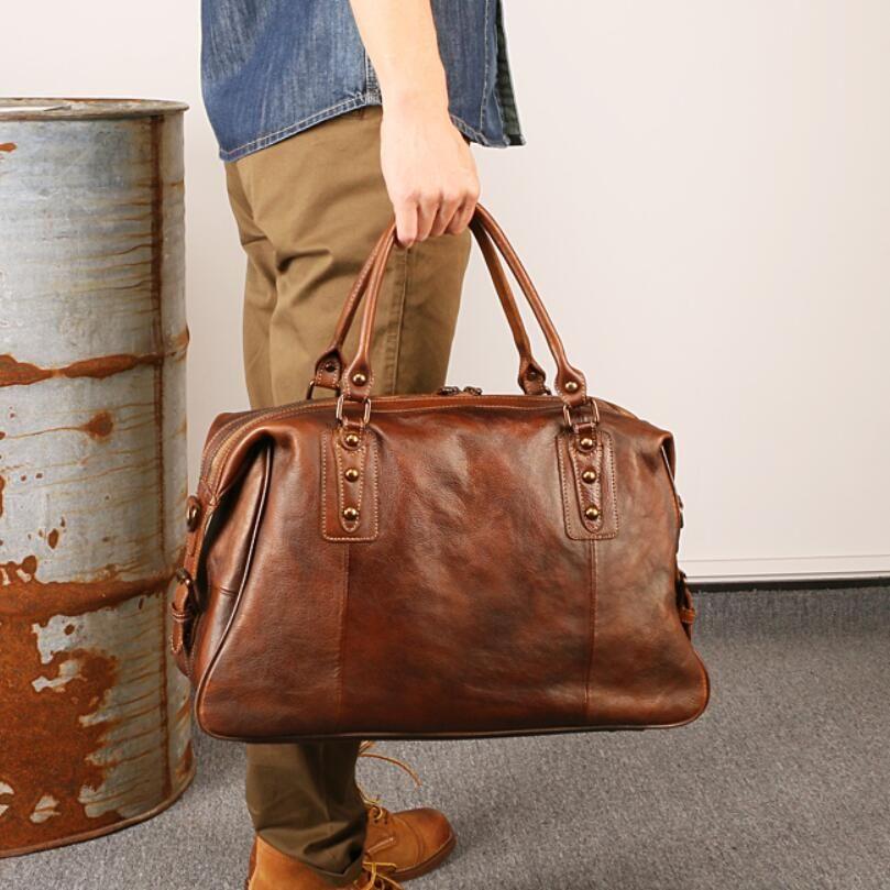 Genuine Leather Men Travel Bags Overnight Duffel Bag Large Capacity Business Weekend Tote Shoulder Crossbody Purse Brown Handbag