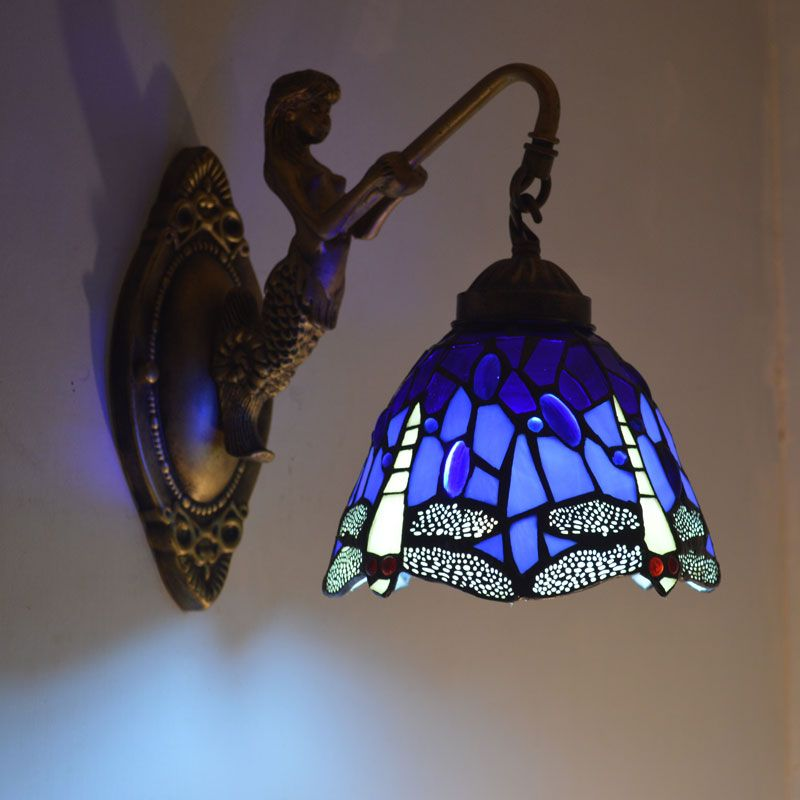Tiffany Mermaid Wall Lamp Dragonfly Stained Glass Lampshade Wall Sconce Bedside Bathroom Mirror Cabinet Fixtures E27 110-240V