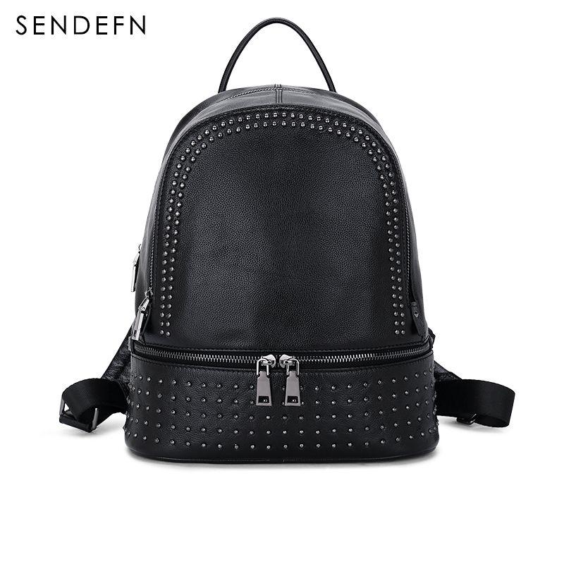 Sendefn Пояса из натуральной кожи рюкзак большой Ёмкость заклепки черный сумка Для женщин Повседневное рюкзак подростковый Обувь для девочек ...