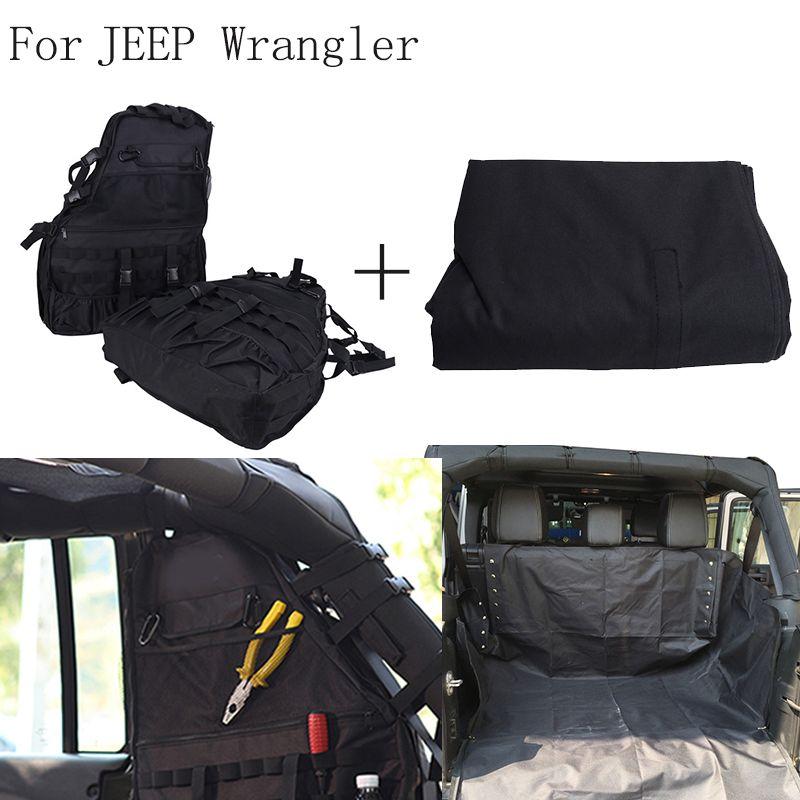 3PCS Multi-Pockets Storage Organizers Cargo Bag Saddlebag + Rear Bench Seat Cover for Jeep Wrangler JK 4-door 2007~2016