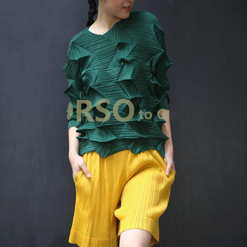 Changpleat 2019 Sommer Neue Frauen Lose T-shirts Tops Miyak Plissee Fashion Solid 3/4 Hülse Große Größe Weibliche T-shirt Flut T9880