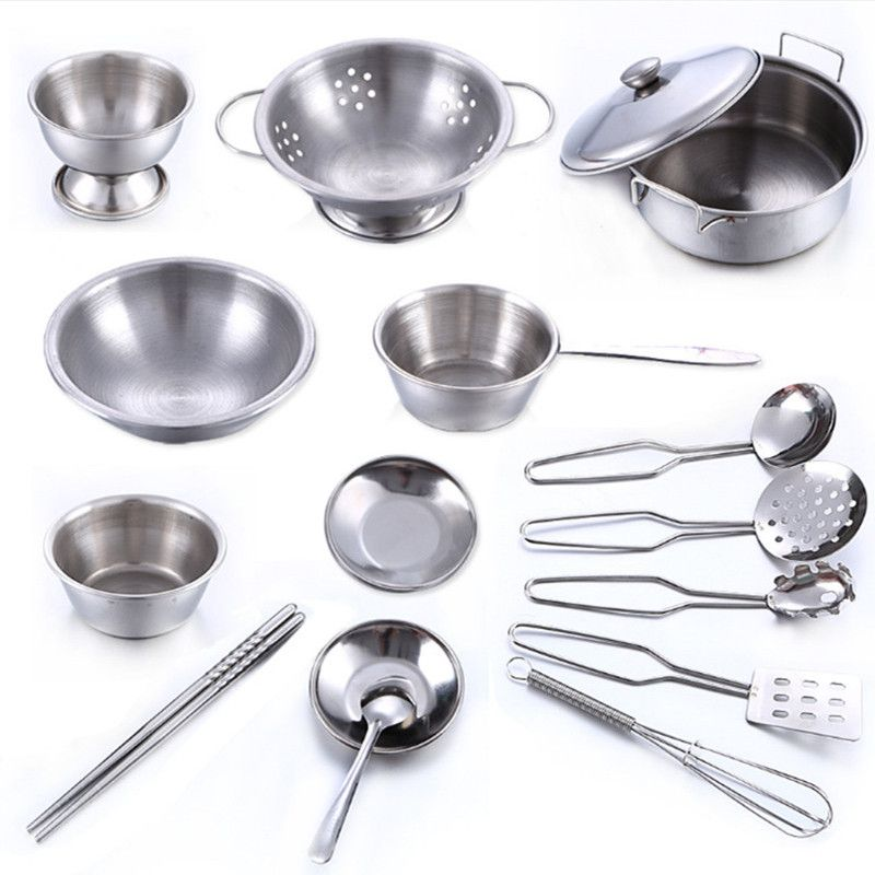16 Pcs Stainless Steel Pretend Play Kitchen Toys Mini Model Kitchenware Cookware Cooking Toys Children Kids Pot Pan Brinquedo