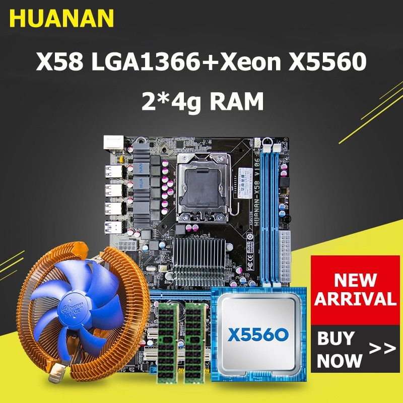 HUANAN X58 motherboard CPU RAM combos with cooler USB3.0 X58 LGA1366 motherboard CPU Xeon X5560 RAM 8G(2*4G) DDR3 server memory
