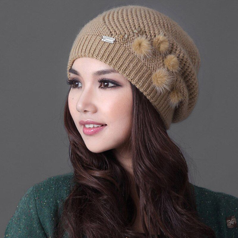 Women Winter Knited Wool Hat Plus Velvet Thicken Warm Beanies Double <font><b>Layer</b></font> Casual Elegant Lady Woolen Knitting Hats Caps 2010