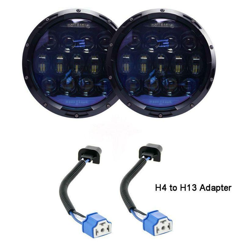 2 PCS 7 Zoll 130 W Runde LED Scheinwerfer Blau Projektor Objektiv mit Hoher Abblendlicht Weiß DRL Bernstein Drehen signal für Jeep Wrangler JK CJ