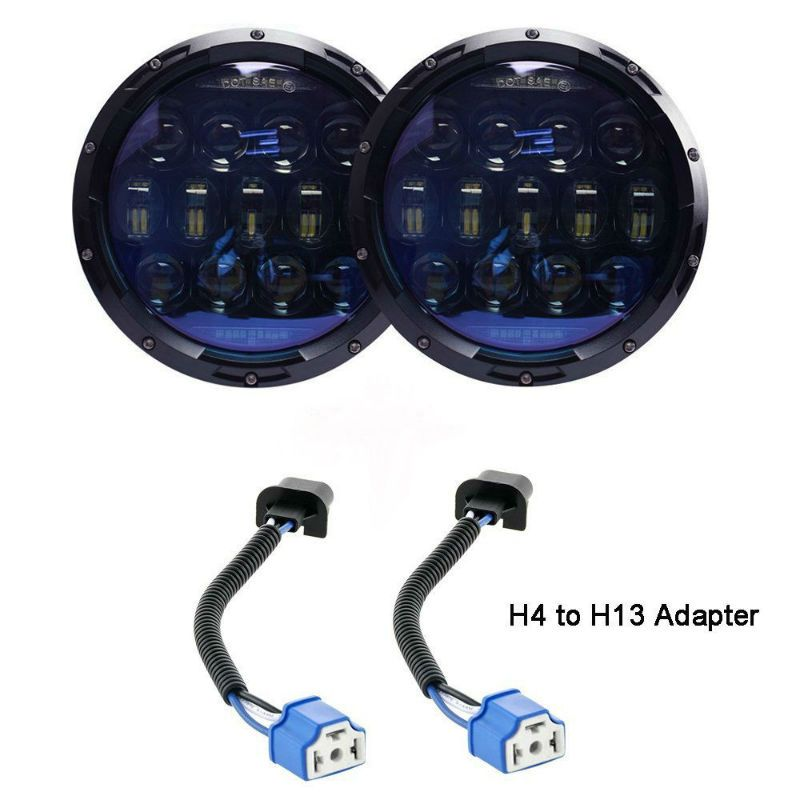 2pcs 7Inch 130W Round LED Headlights Blue Projector Lens with High Low Beam White DRL Amber Turn Signal for Jeep Wrangler JK CJ