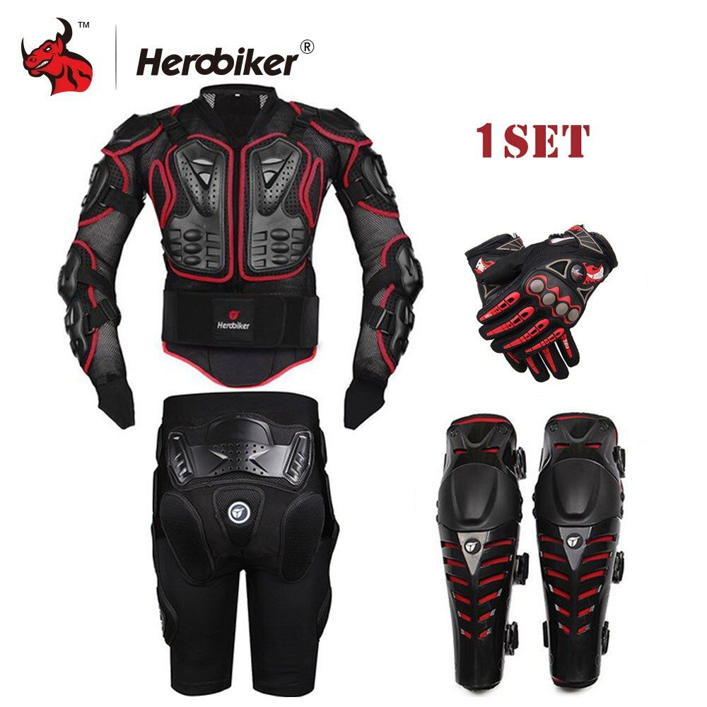 HEROBIKER Black Motorcycle Racing Body Armor Motorcycle Jacket+ Gears Short Pants+Motorcycle Knee Protector+Moto gloves