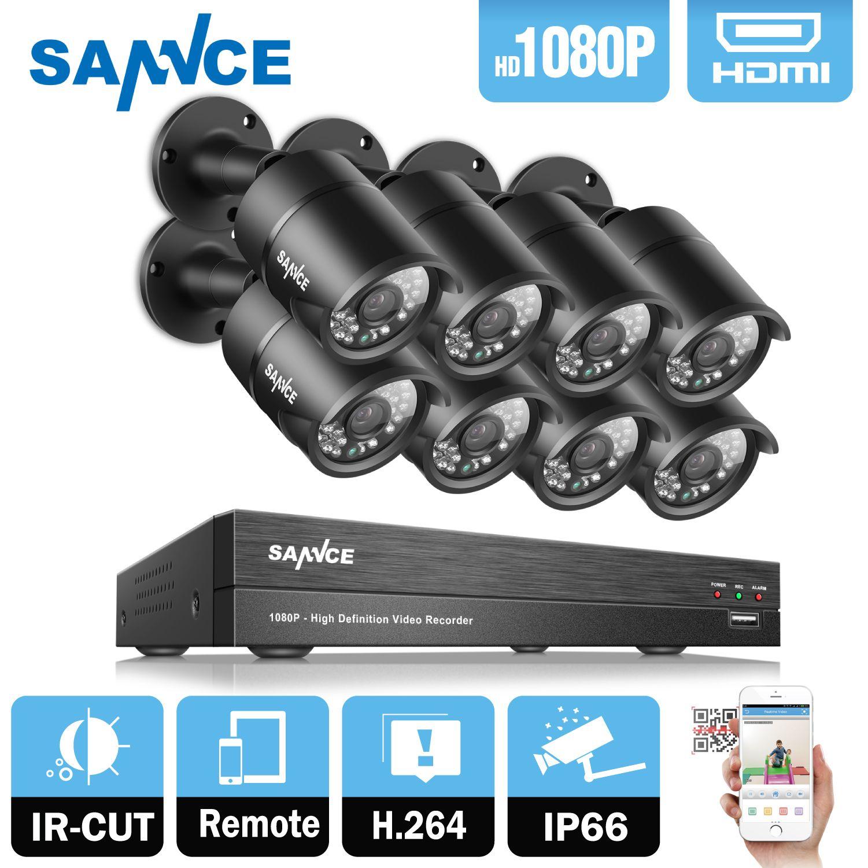 SANNCE 8CH 1080 P 2MP CCTV DVR Recorder 4 STÜCKE 1080 P HD 1920*1080 In/Outdoor Sicherheit Cctv-gewehrkugel-kamera-system & 1 TB HDD Onvif
