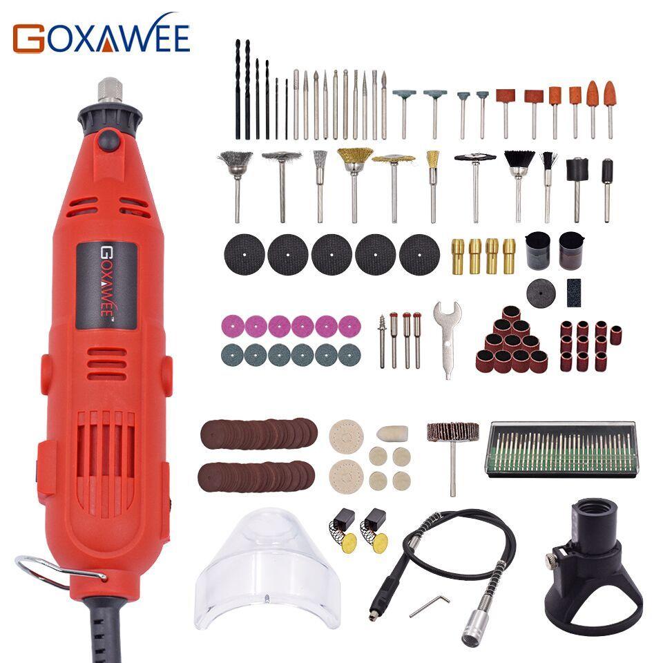 GOXAWEE 220 V Mini perceuse électrique graveur vitesse Variable rotatif avec arbre Flexible 181 pièces accessoires outils électriques pour Dremel