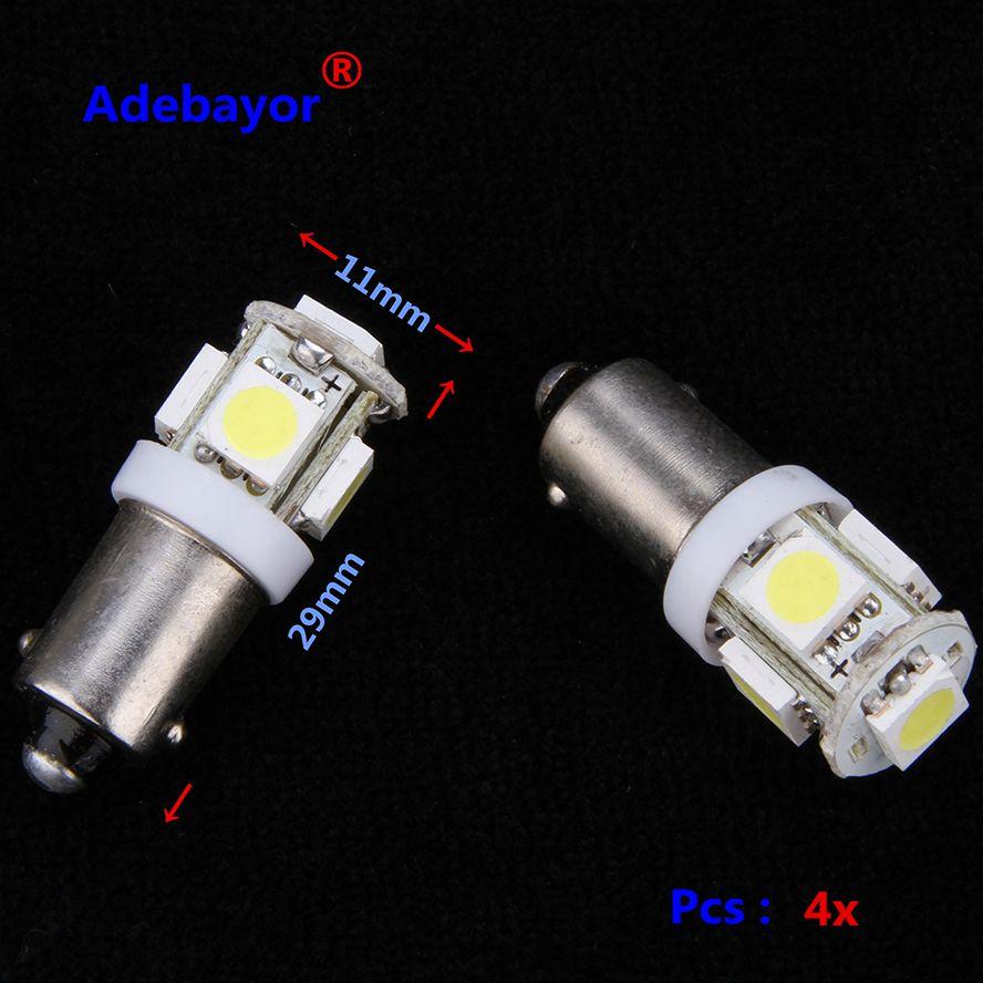 4X T11  BA9S 5 SMD 5050 LED Light bulbs 5SMD T4W 1445 Q65B H6W 182 53 57 Car Indicators Light Interior Bulb Wedge Lamp 7color