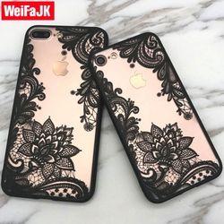 WeiFaJK De Luxe Dentelle Fleur Téléphone Cas Pour iPhone 6 6 s 7 Plus 5 5S SE Sexy Floral TPU Complet pour l'iphone 7 8 Plus le Cas Coque