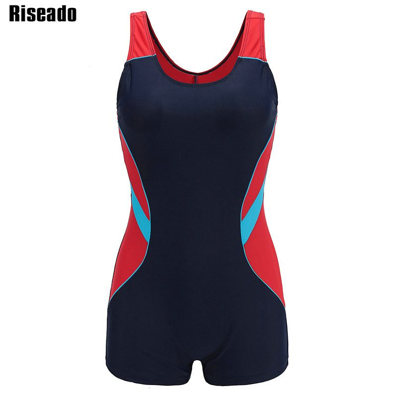 Riseado New One Piece Swimsuit 2019 Sport Swimwear Women Patchwork Women Swimsuits Competitive Racer Back Boyleg Bathing Suits
