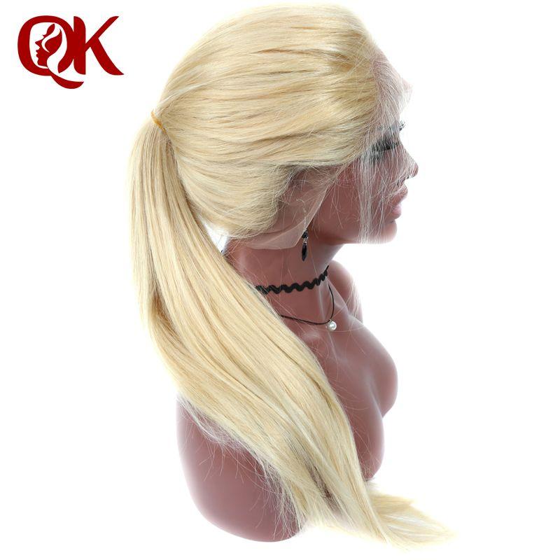 QueenKing cheveux Pleine Perruque de Lacet 180% Densité Blonde 613 Soyeux Droite Preplucked Délié 100% Humains Brésiliens Remy Cheveux