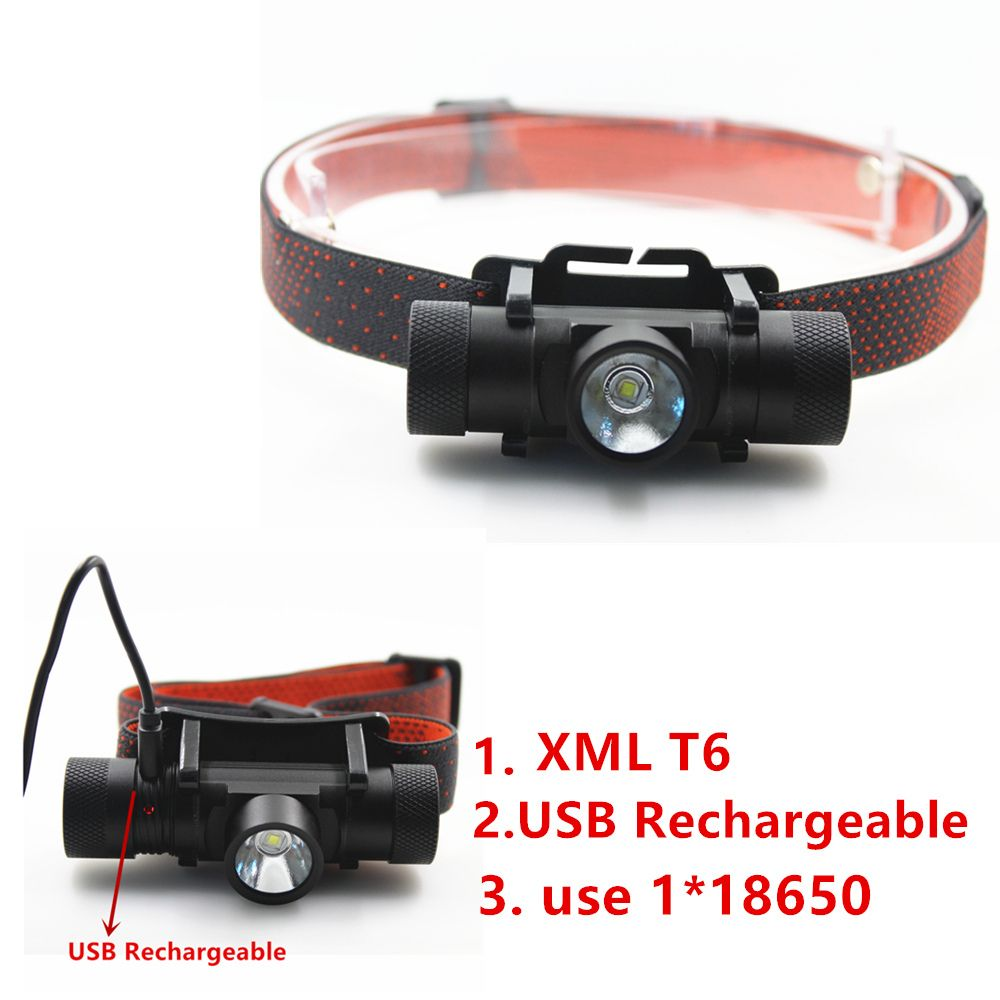 NEW XML T6 USB Rechargeable <font><b>headlamp</b></font> Headlights headlight 18650 head lamp for camping led flashlight