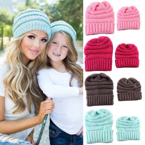 Hot Family Women Mother Mum Baby Girl Kids Knit Hat Crochet Knitted Beanie Ski Hat 2pcs