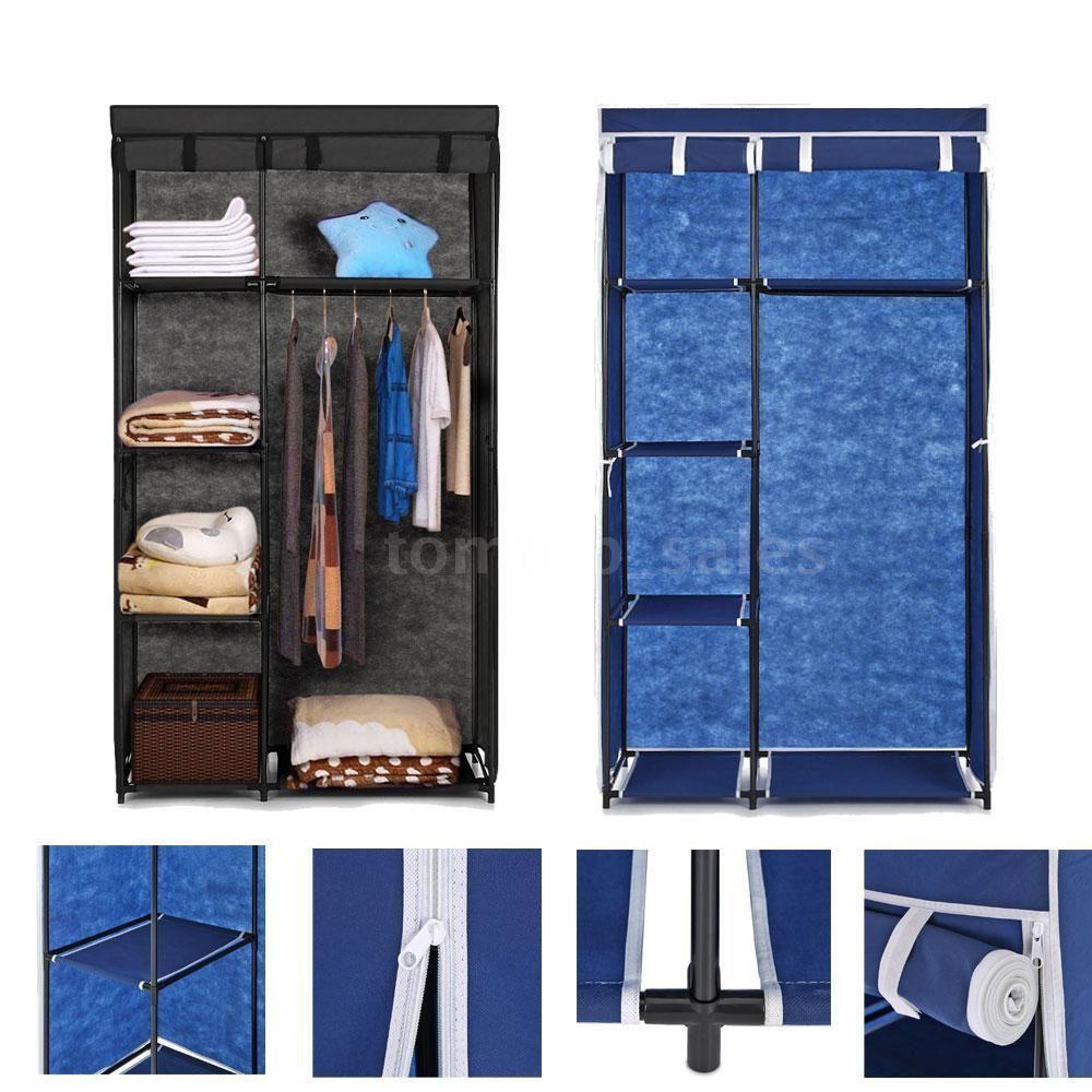 IKAYAA US Stock armario ropero Fabric Closet Wardrobe Cloth Cabinet Roll Up Clothes Organizer Hanger Rack with 5 Storage Shelves