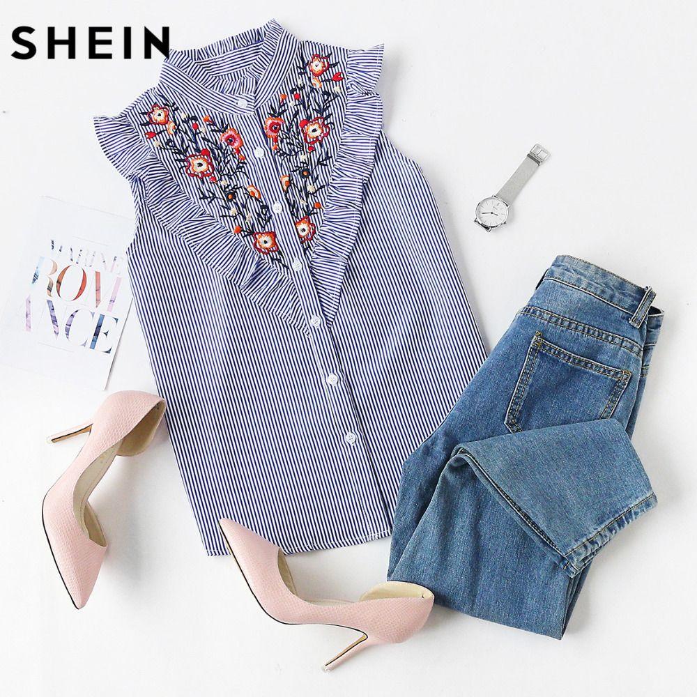 SHEIN Sleeveless Top Women Summer Women's Blouses Tops Blue <font><b>Striped</b></font> Ruffle Trim Embroidered Band Collar Sleeveless Blouse