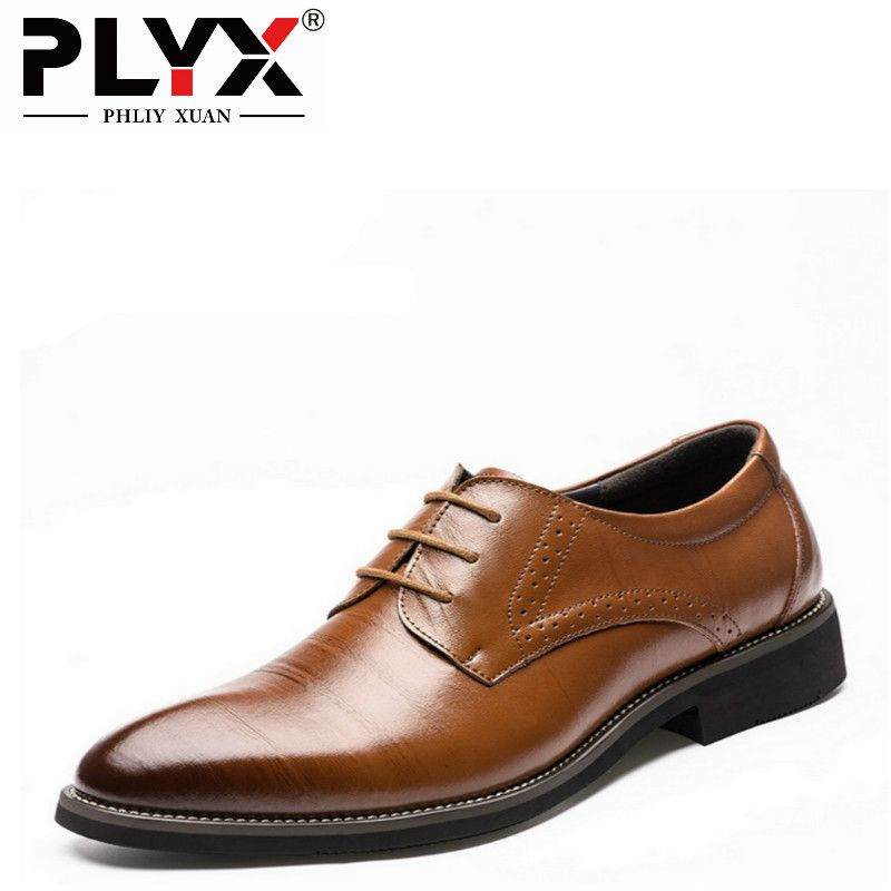 PHLIY XUAN 2018 Man Flat Classic Men Dress Shoes Genuine Leather Wingtip Carved Italian Formal Oxford Plus Size 38-48 For Winter