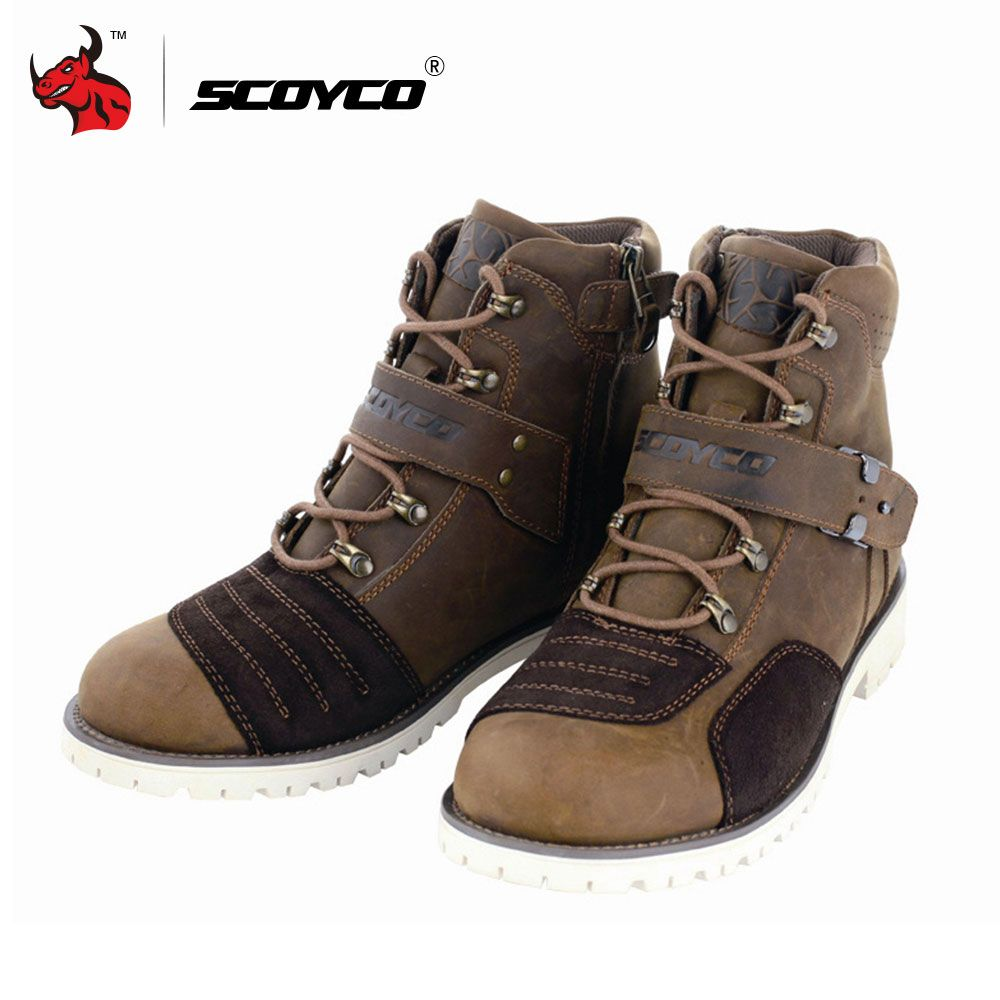 SCOYCO Motorcycle Touring Boots Vintage Design Casual Wear Top Cow Leather Riding Ankle Boots Motorbike Street Racing Shoes