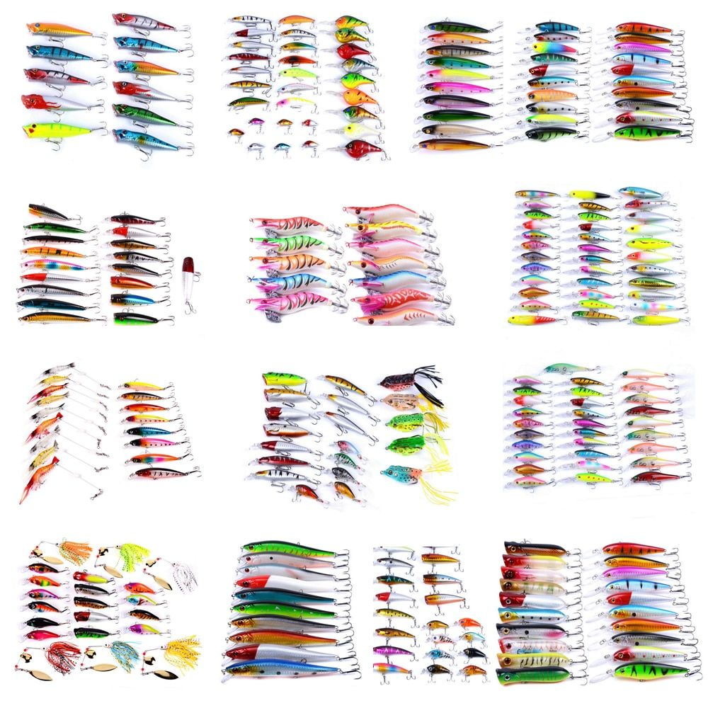 Mixed Fishing Lure Kits Crankbait Minnow Popper Soft Lures Frog bait AOrace Fishing Lures Iscas Artificial Lifelike Carp Fishing