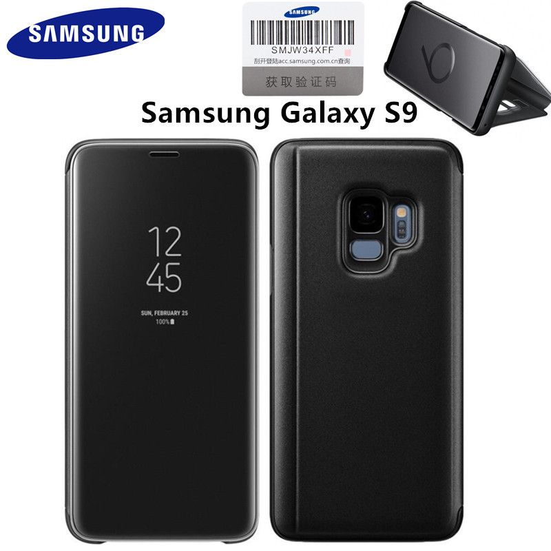 Original Samsung Galaxy S9 Clear View Standing Smart Flip Cover Automatic wake-up Phone Case Official security verification code