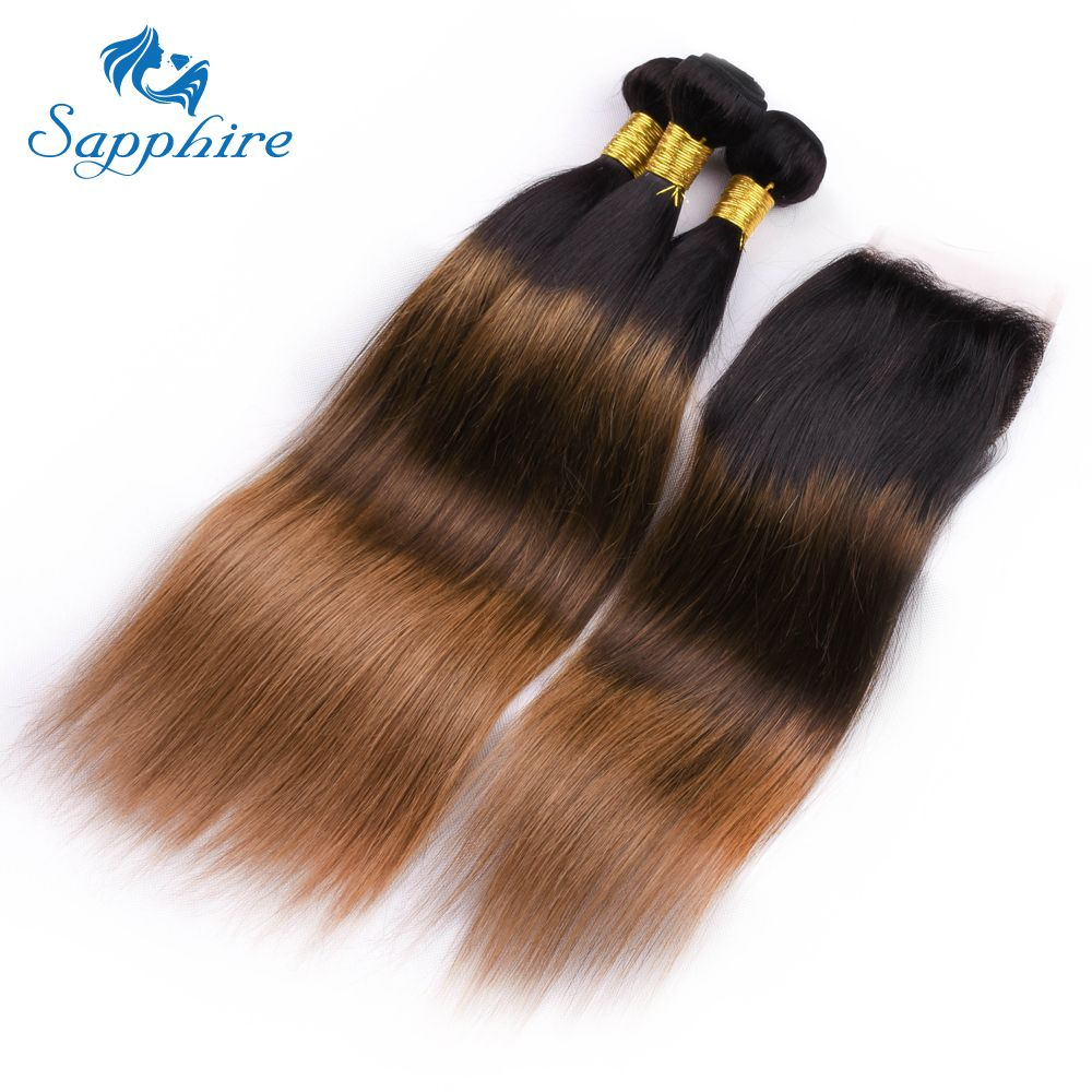 Sapphire Brazilian Ombre Brown TB/4/30 Color 3 Hair Bundles With 4x4 Lace Closure Straight 100% Human Hair Bundles With Closure