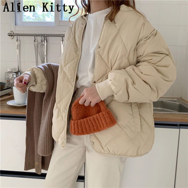 Alien Kitty Winter Fashion Outwear Casual Jackets Solid Tops All-Match Simple Fresh Stylish Warm Women Coat Loose Thicken