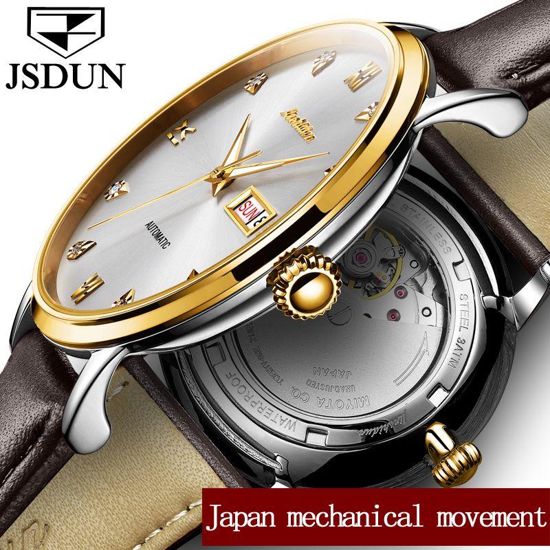 JSDUN Watch men Mechanical Watches Waterproof relogio masculino Japan Automatic Movement Date Week Leather Watches Clock saat