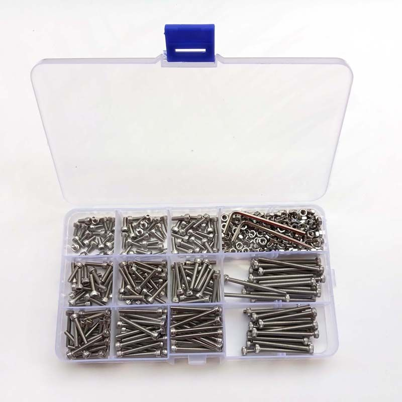440pcs M3 (3mm) 304 A2 Stainless Steel Allen Bolts Hex Socket Head Cap Screws Wrench Nuts Assortment Kit  free shipping screw