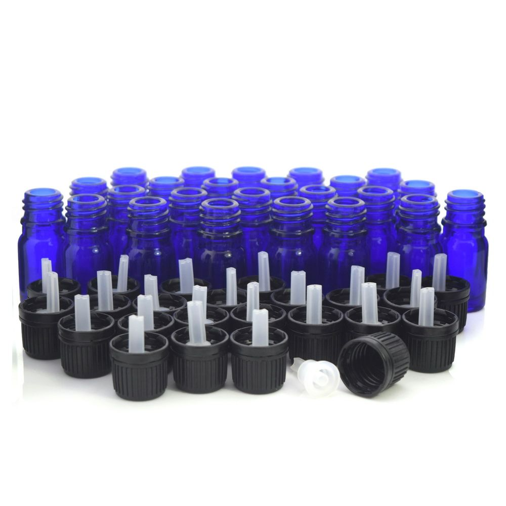 24 X 5ml Cobalt blue Glass bottles Vials Containers with euro dropper black tamper evident cap for essential oils aromatherapy