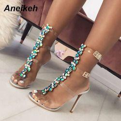 Aneikeh New Summer sandals women Buckle Strap Luxurious Blue Crystal Chain Transparent PVC High Heel OpenToe Sexy Sandals Shoes
