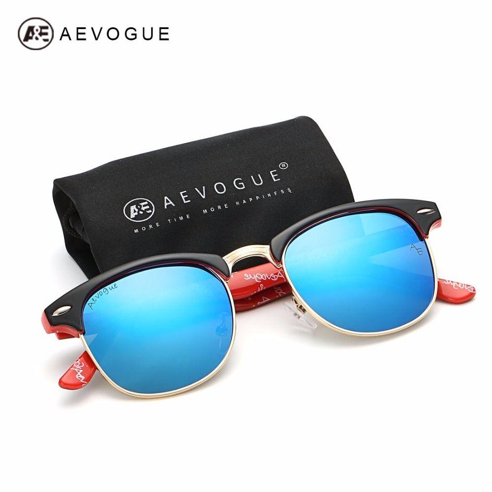 AEVOGUE Polarisées lunettes de Soleil Hommes Rétro Rivet Haute Qualité Polaroid Lentille Été Style Brand Design Unisexe Lunettes de Soleil CE 0369