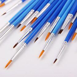 10 Pcs/Set Fine Hand Painted Thin Hook Line Pen Blue Art Supplies Drawing Art Pen Paint Brush Nylon Brush Painting Pen