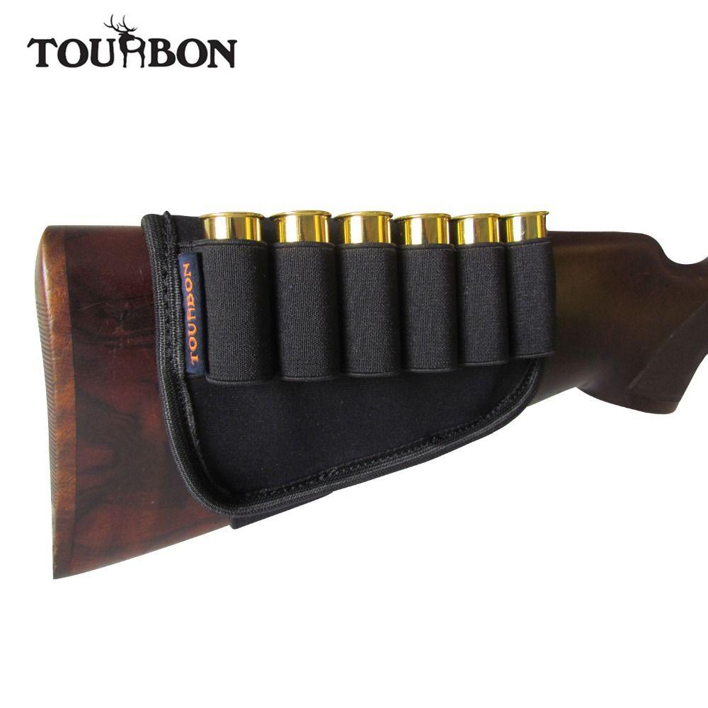 Tourbon Hunting Gun Accessories Buttstock 12 Gauge Shotgun Ammo Cartridges Holder Neoprene Elastic for Shooting