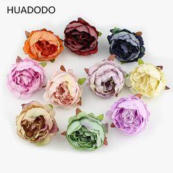 Huadodo 10 unidades 5 cm Peony cabeza de flor de seda flores artificiales para la decoración de la boda DIY flores falsas de la guirnalda decorativa