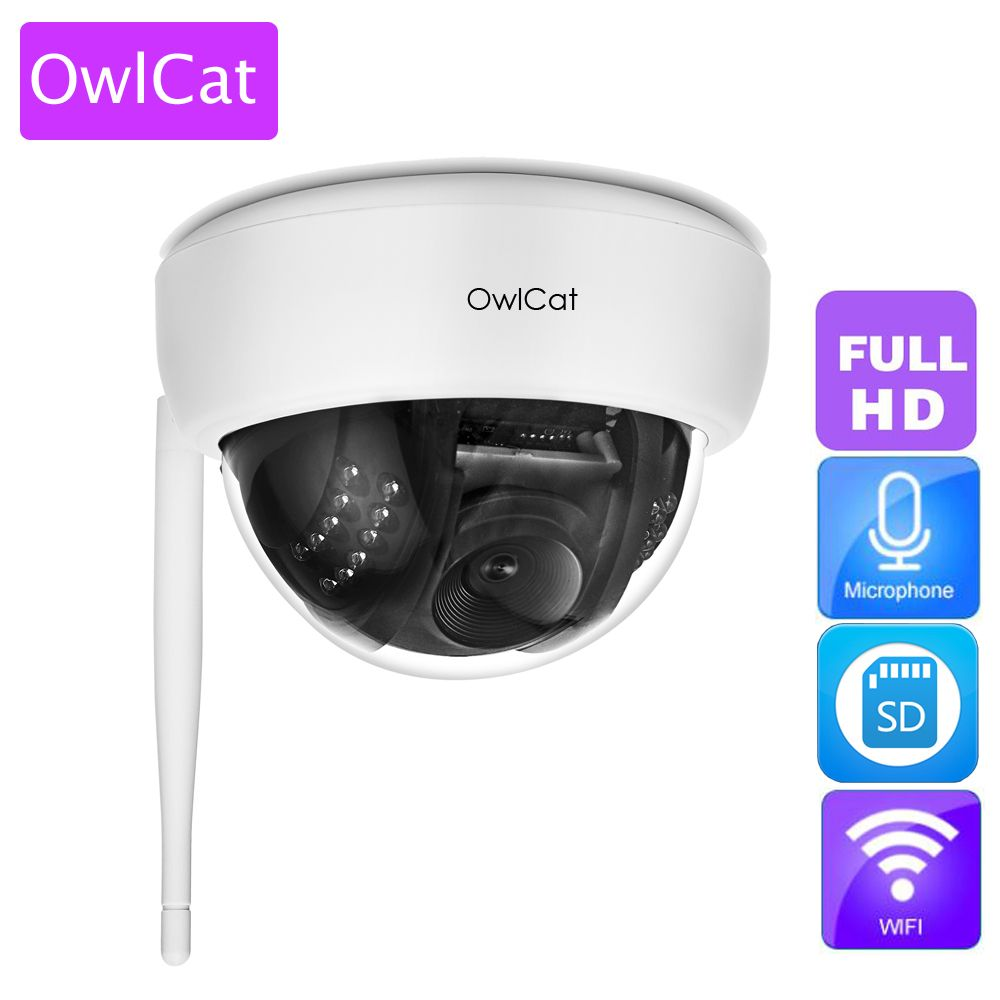 OwlCat Wire-Free Dome IP Camera 1080P Indoor Full HD Wireless Security WiFi IP Camera with Audio Microphone SD Memory Slot Onvif