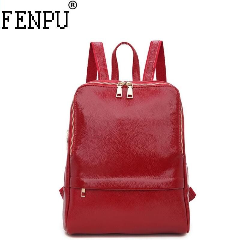 2018 Genuine Leather Backpack Women Backpacks Soft Leather Female School Bags for Girls Hot Fashion Women Backpack Taravel Bag