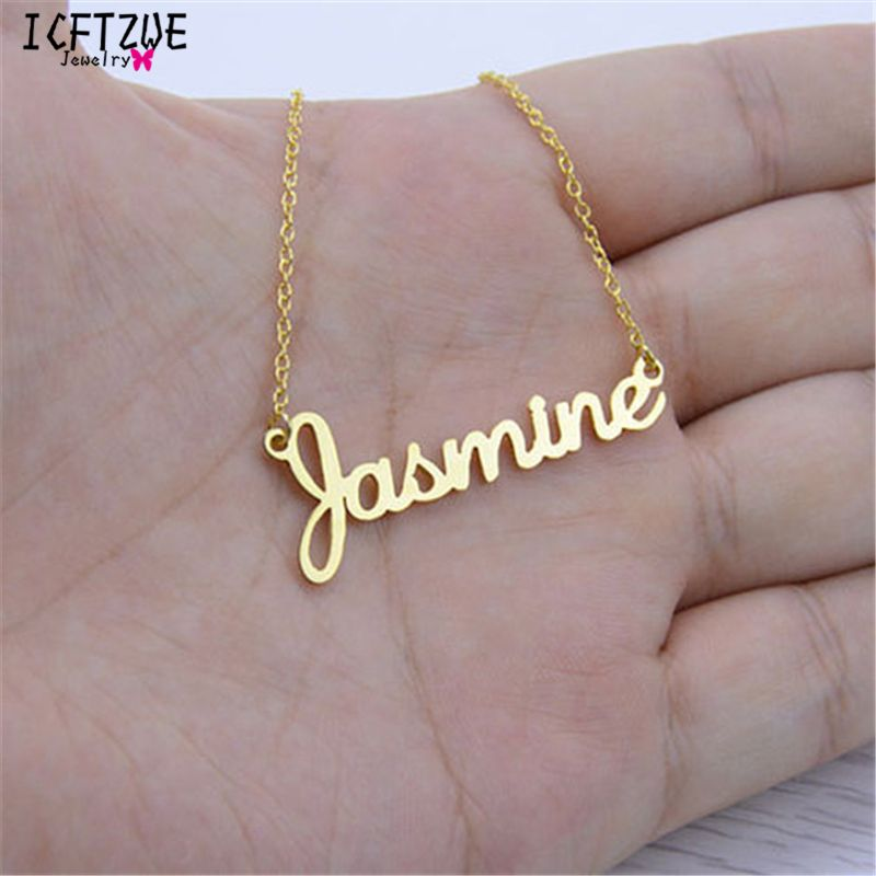 Handmade Custom Jewelry Any Name Necklaces Personalized Women Men Silver Gold Rose Choker Necklace Christmas Bridesmaid Gift BFF