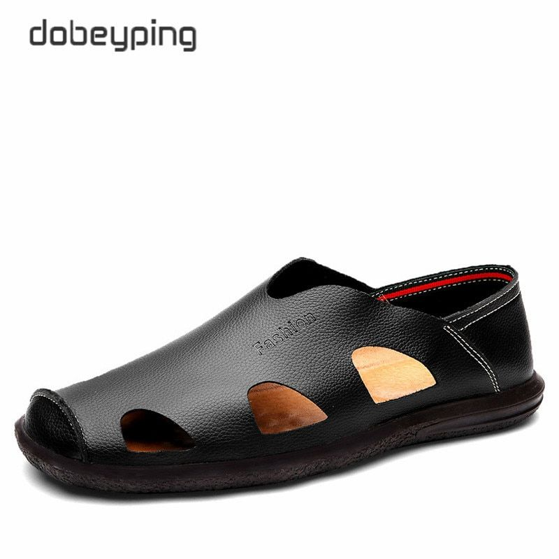 2017 New Men's Summer Sandals Real Leather Man Casual Shoes Fashion Breathable Male Loafers Soft Driving Flat Shoe Size 38-44