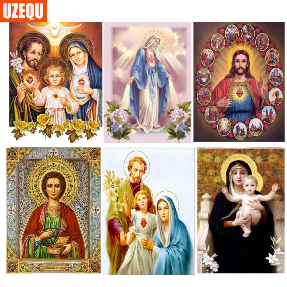 UzeQu Full Diamond Embroidery Jesus Family 5D DIY Diamond Painting Cross Stitch Religion Portrait Round Mosaic Rhinestones Decor