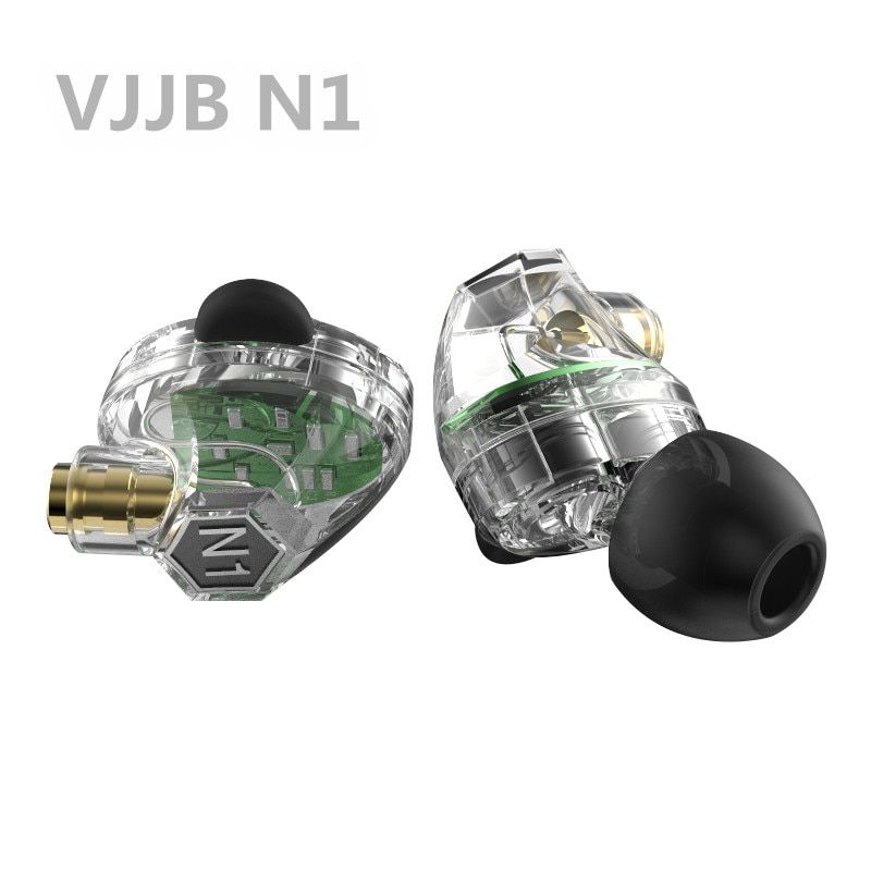 New VJJB N1 Double Dynamic Earphone Two Unit Driver DIY HIFI Bass Subwoofer with Mic Cable+Audio Cable