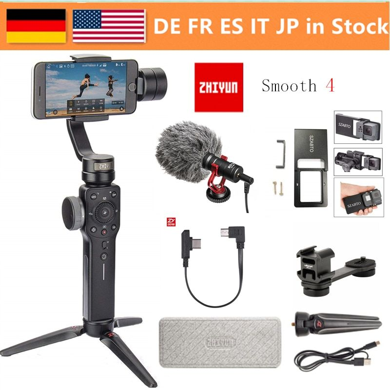 Zhiyun Smooth 4 3-Axis Handheld Gimbal Stabilizer w/Focus Pull & Zoom for iPhone Xs Max Xr X 8 Plus 7 6 SE Samsung Action Camera
