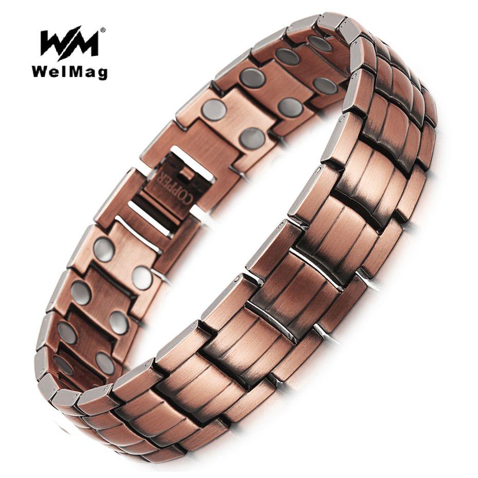 WelMag Healing Magnetic Copper <font><b>Bracelets</b></font> & Bangle for Men Bio Energy Double Row Magnet solid Copper Male <font><b>Bracelets</b></font> Jewelry