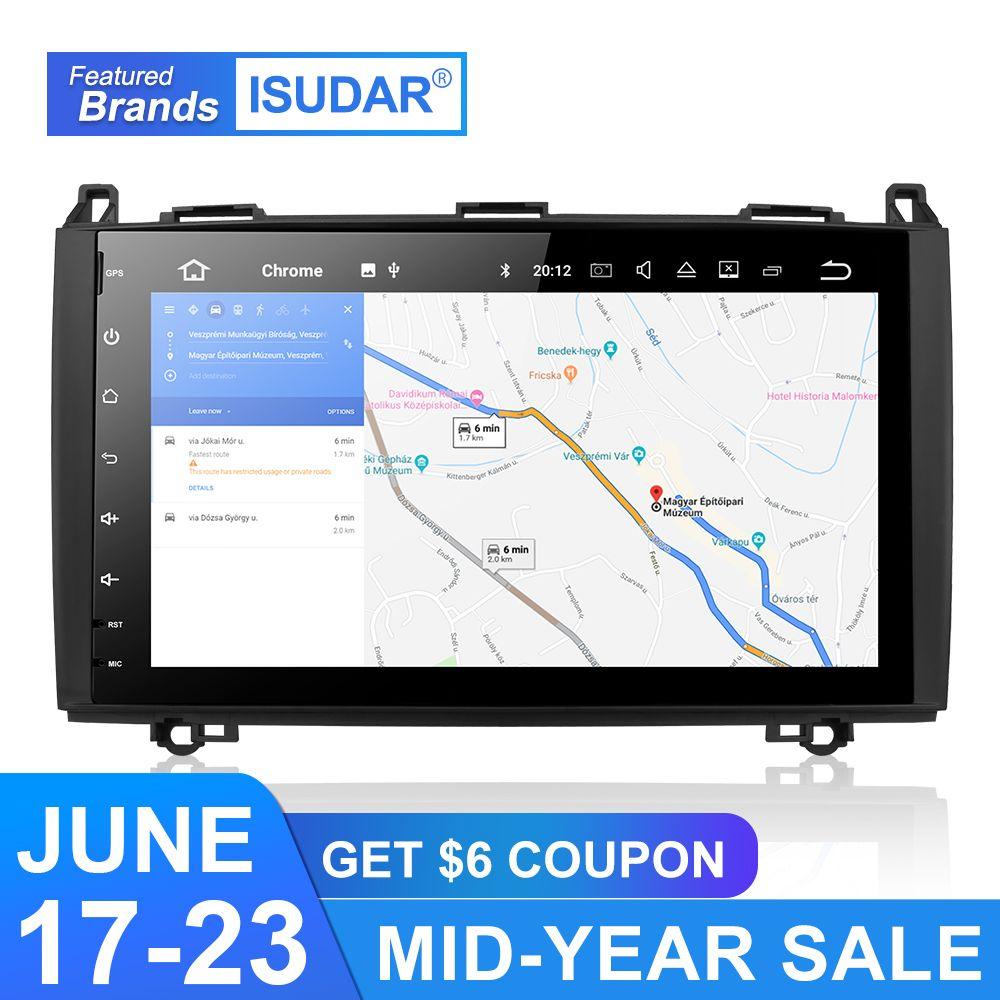 Isudar Auto Multimedia-Player GPS Android 9 Auto Radio 2 Din Für Mercedes/Benz/Sprinter/W169/B200 /B-klasse DSP 4 GB RAM OBD2 USB DVR