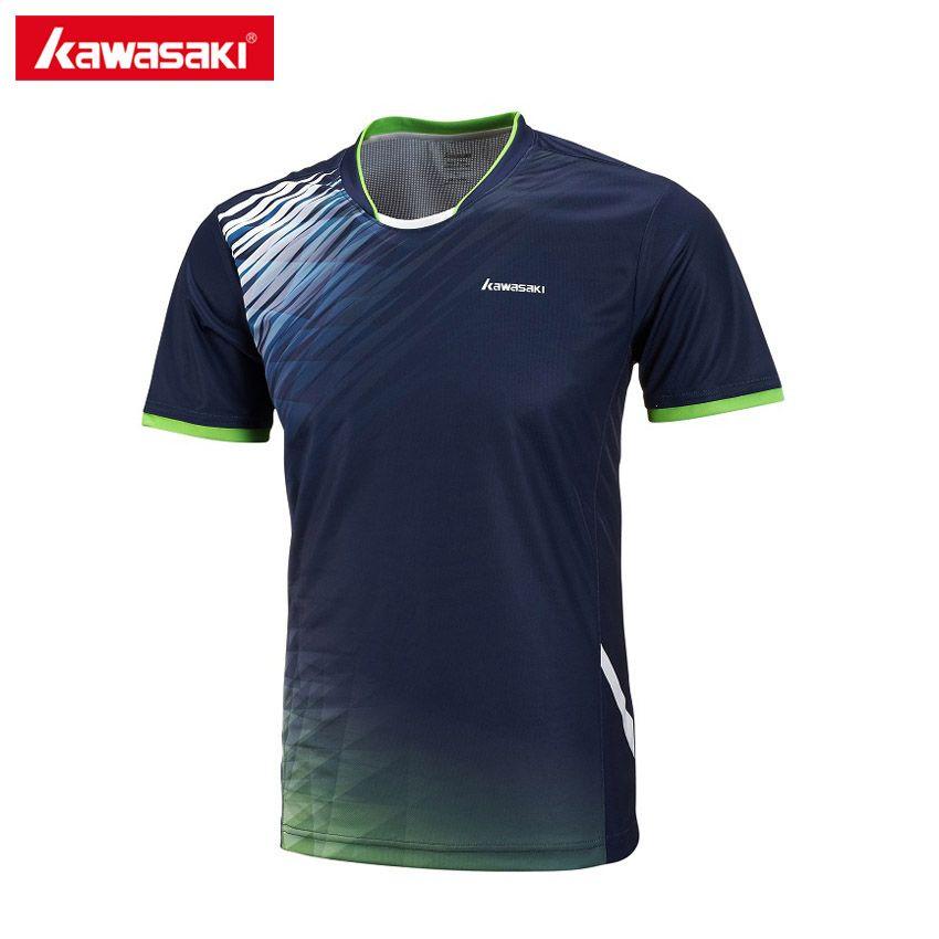 2017 Kawasaki Männer Badminton T Shirts 100% Polyester Quick Dry Sportbekleidung für Fitness Tennis Training Kleidung ST-171018
