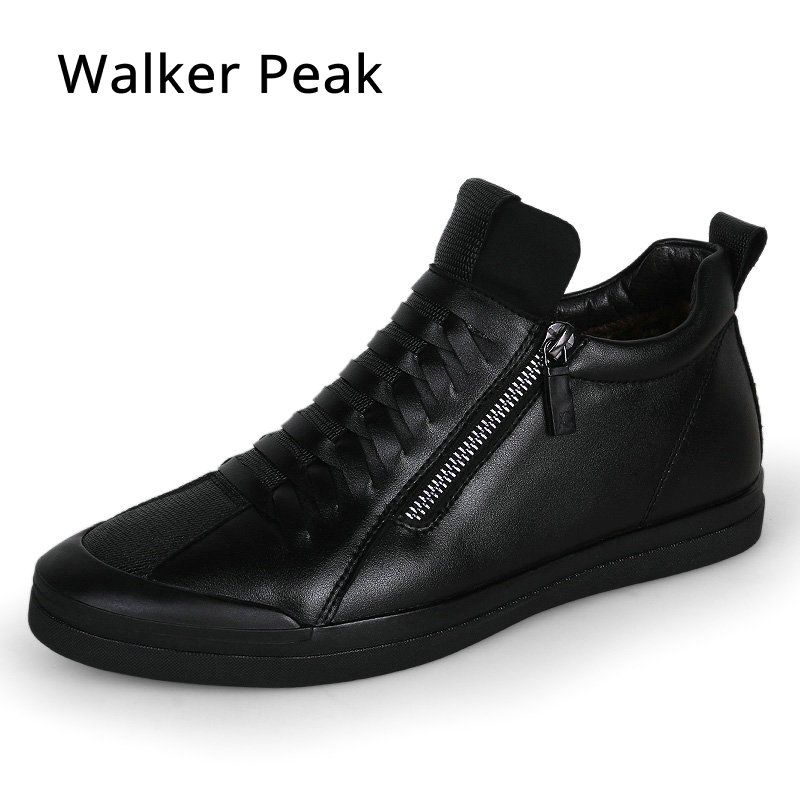 Mens shoes casual fashion designer genuine leather shoes for men Slip on loafers <font><b>Black</b></font> sneakers Winter Autumn men's shoes Brand