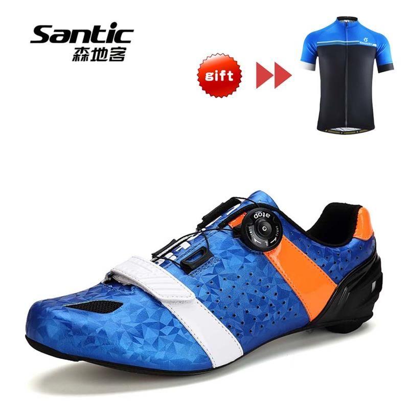 SANTIC Radfahren Schuhe Carbon Faser Straße Fahrrad Schuhe Auto-lock Athletisch Ultraleicht Atmungsaktiv Rennrad Schuhe Radfahren Ausrüstung